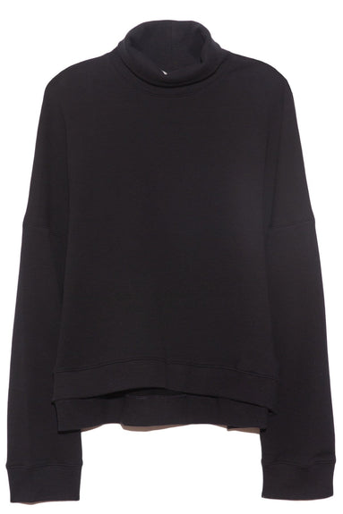 Lightweight Fall Terry T-Neck Top in Black