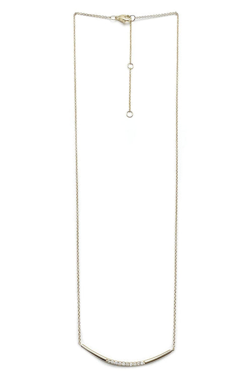 14K Gold Pave Crescent Necklace