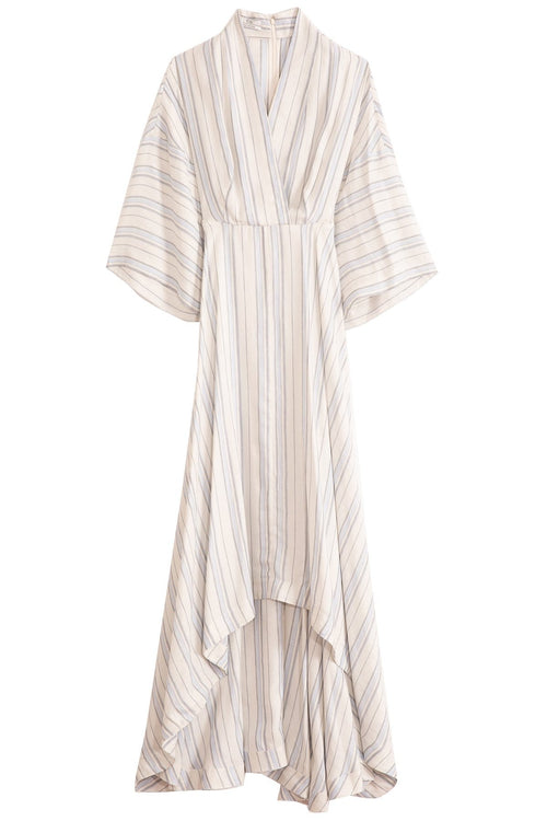 Linen Stripe V-Neck High Low Dress in Multi