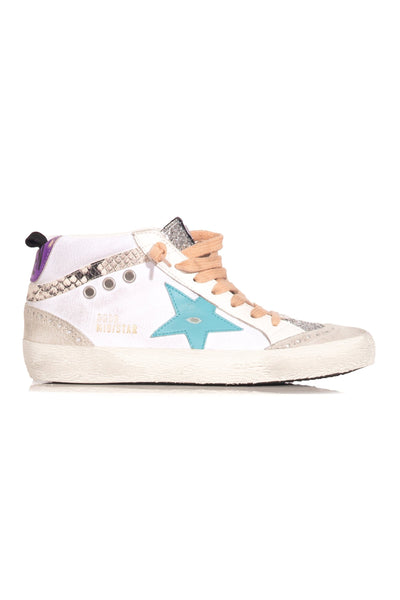 Mid Star Sneaker in White Canvas/Silver Glitter/Mavi Blue Star