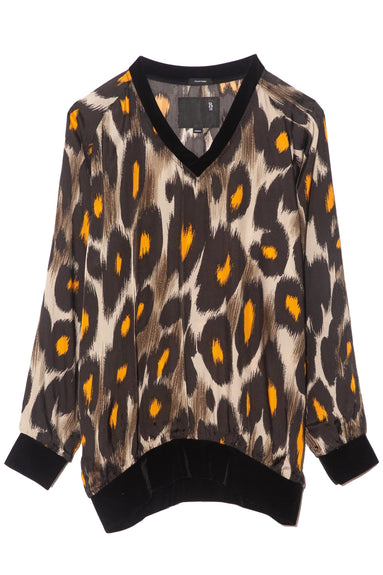 Woven V-Neck Sweater in Grey/Orange Leopard