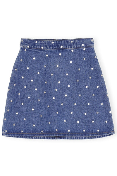 Stud Denim Skirt in Denim