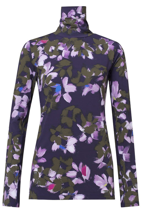Floral Movement Turtleneck in Green Flowers on Blue
