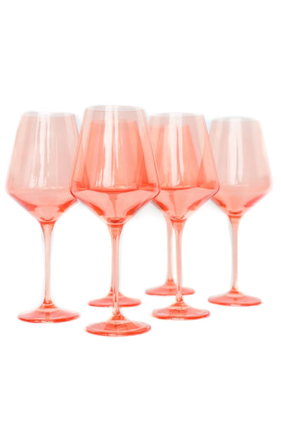 Colored Wine Stemware in Coral Peach Pink - Set of 6