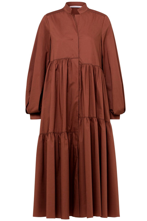 Poplin Power Dress in Nougat Brown