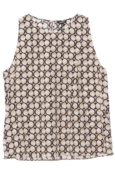Print Silk A-Line Top in Beige