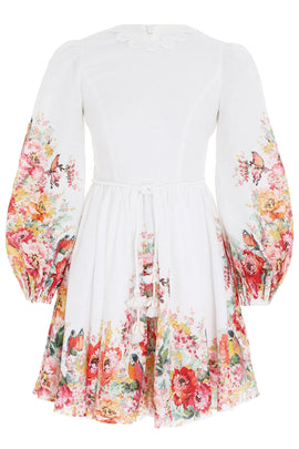 Mae Mini Dress in Ivory Floral