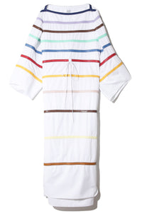 Rainbow Leather Caftan Dress in White
