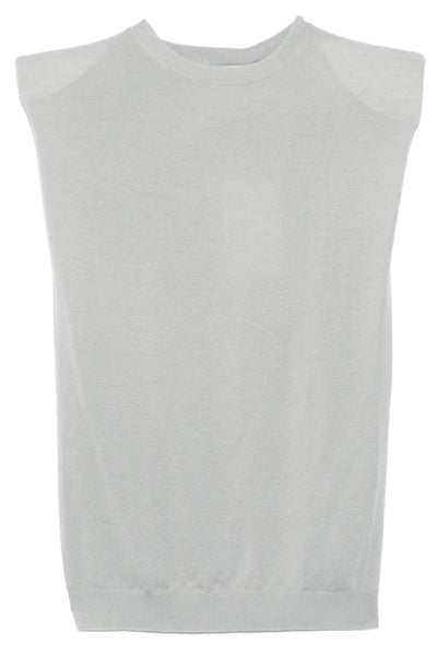 Prince Padded Shoulder Top in Light Grey Melange