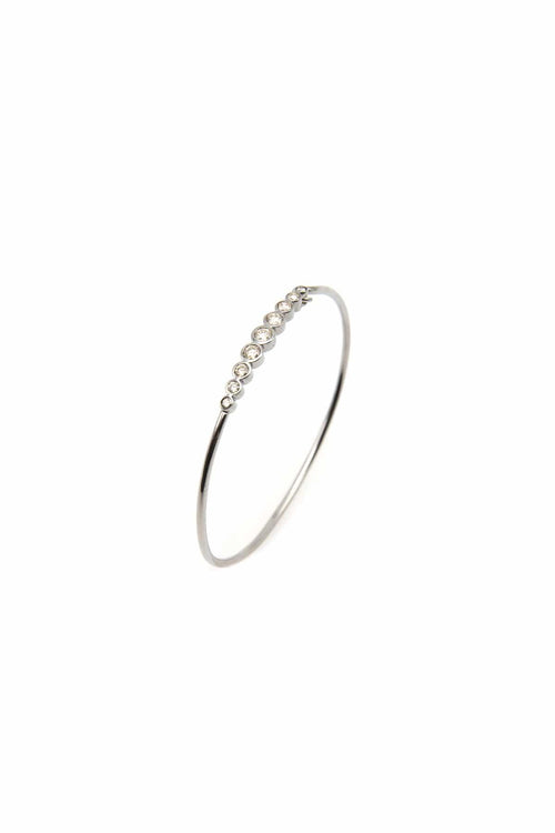 Bezel Set Diamond Wire Bangle