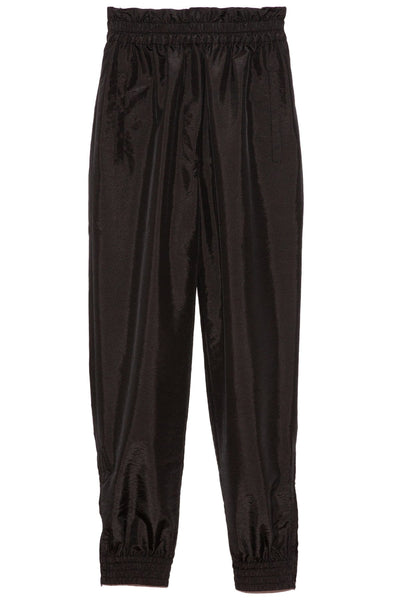 Crispy Nylon Paper Bag Jogger Pants in Black