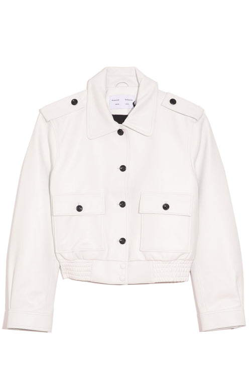Leather Bomber Jacket in Off White