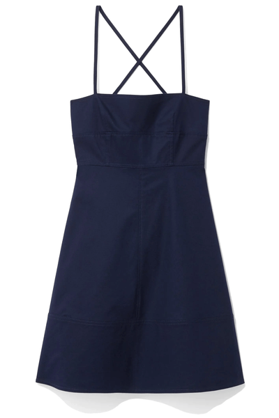 Cotton Strapless Short Dress in Navy
