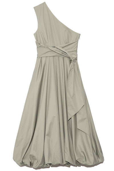 Eco Poplin One Shoulder Dress in Sage