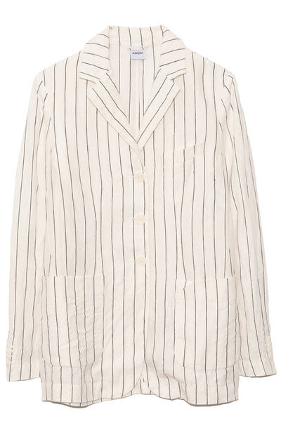 Striped Linen Blazer in Natural