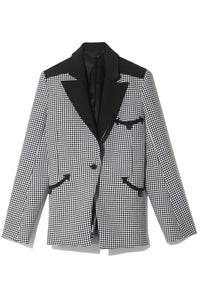 Wool Jacquard Check Blazer in Black Pied De Poule