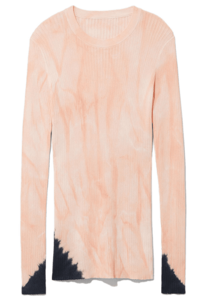 Tie Dye Long Sleeve Sweater in Dark Salmon/Black