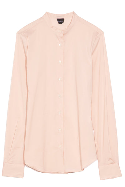 Mock Neck Top with Stretch in Pink
