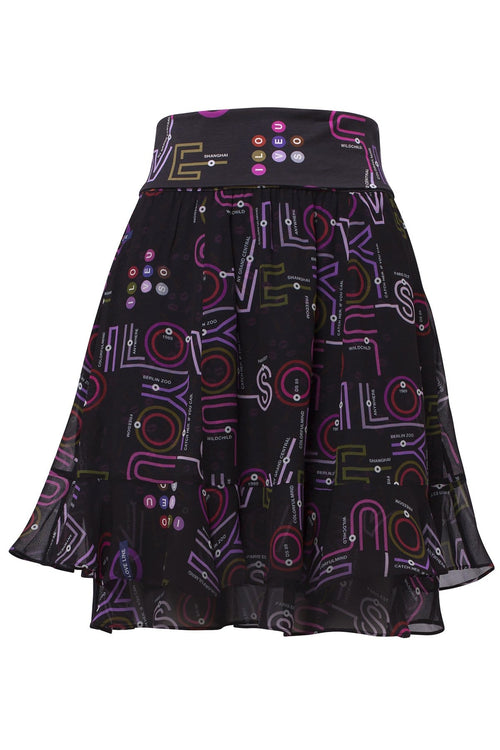 Love Map Skirt in Colorful Map