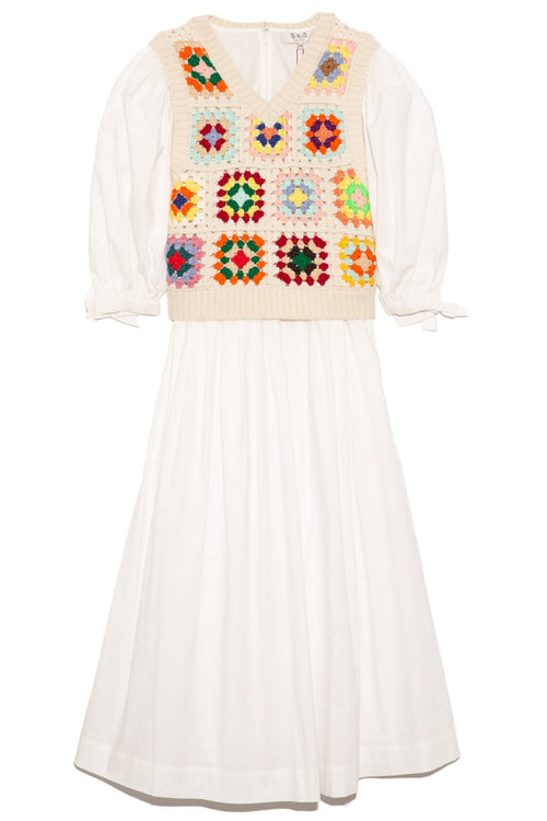 Gabriela Crochet 3/4 Sleeve Combo Dress in Multi