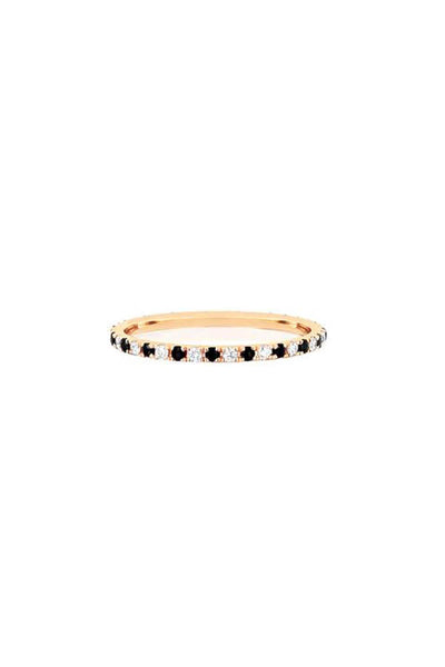 Diamond and Black Diamond Dot Eternity Ring in Yellow Gold