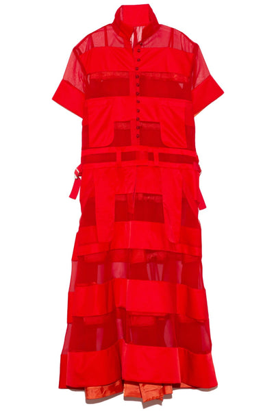 Nylon Twill and Chiffon Dress in Red