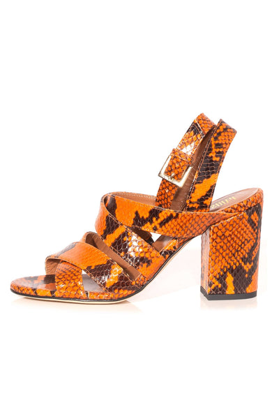 Python Print Strappy Sandals in Orange