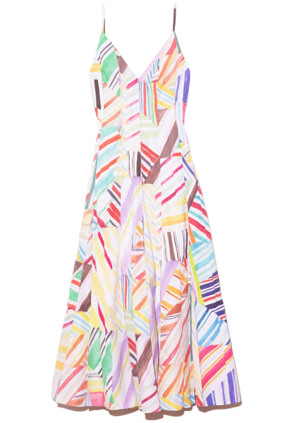 Million Pleats V-Neck Dress in Rainbow