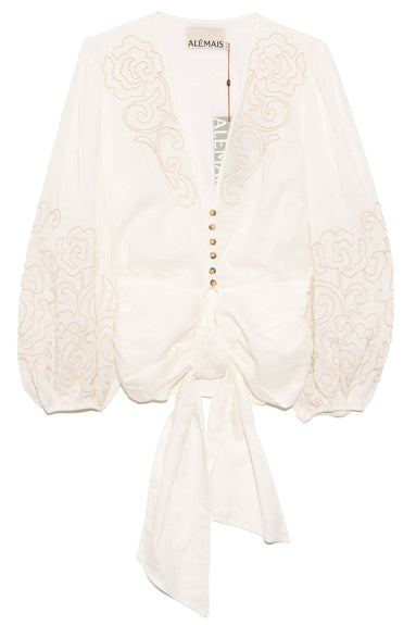 Arabesque Tie Front Top in Ivory