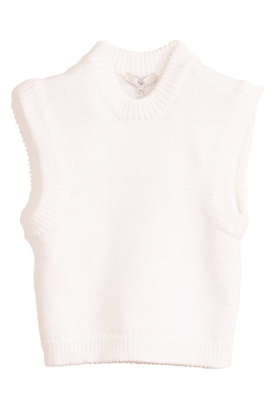 Tube Yarn Cropped Pullover in White