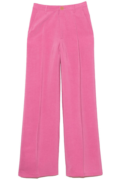 Washed Cupro Twill Wide Pants in Rosie