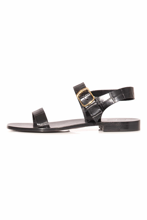 Croc Embossed Buckle Sandal in Black