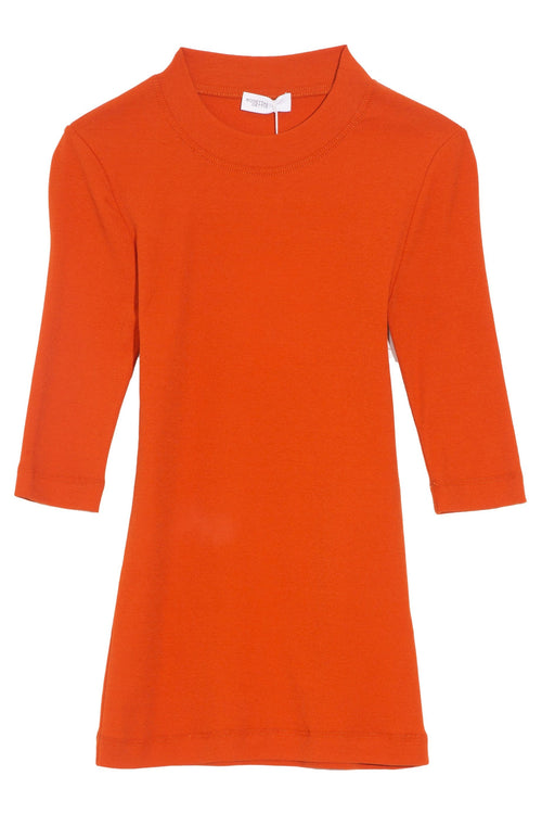 Cropped Sleeve T-Shirt in Terracotta