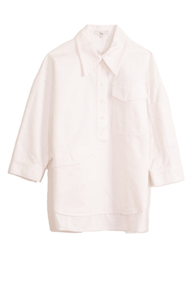 Garment Dyed Twill Oversized Cocoon Shirt in White