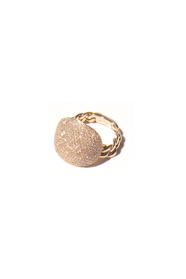 Pavé Diamond Chain Ring in Yellow Gold