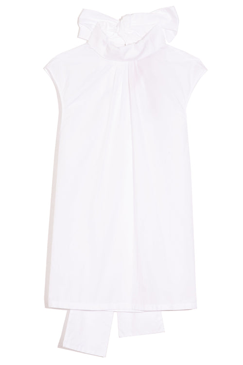 Sleeveless Turtleneck Top in White