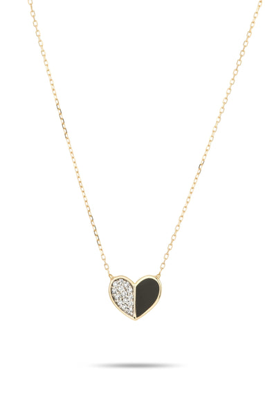 Black Ceramic Pave Folded Heart Necklace in Yellow Gold