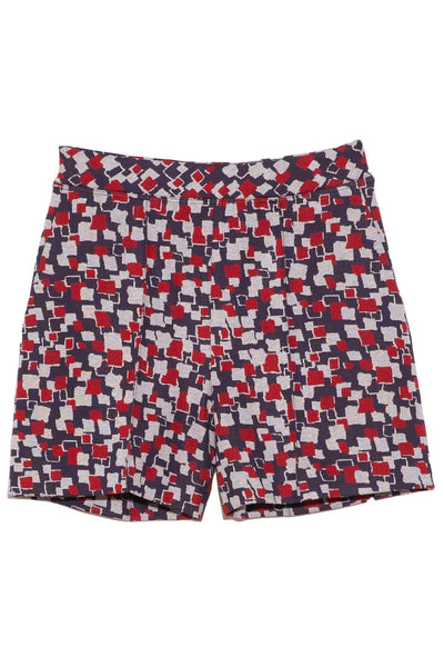 Abstract Relaxed Pintuck Short in Navy/Red/White