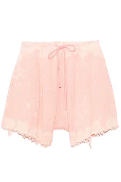 Dropped Crotch Sweatshort in Bleached Pink