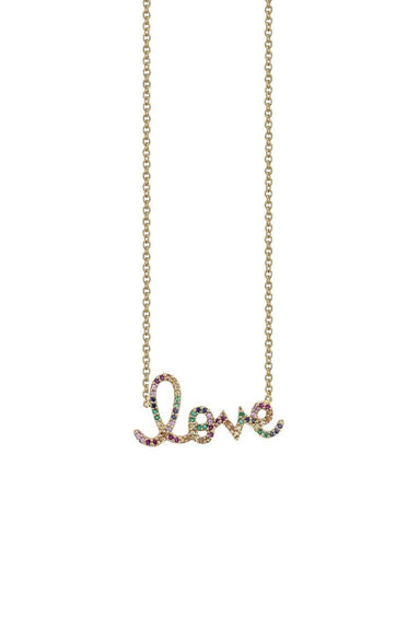 Small Rainbow Love Necklace in Yellow Gold