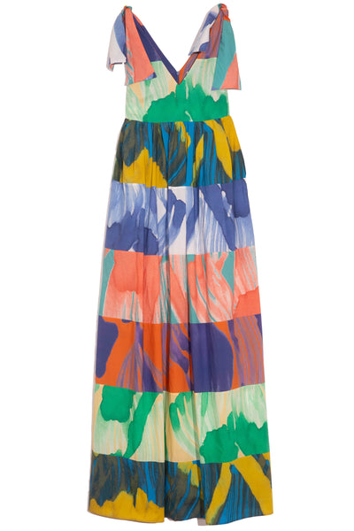 Printed Tie Shoulder Dress in Multicolor