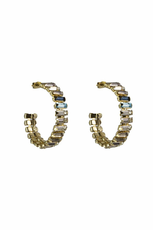 Barlume Hoop Earrings in Crystal/Blue