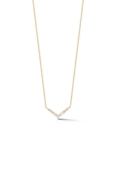 Sadie Pearl Baguette Mini V Necklace in Yellow Gold