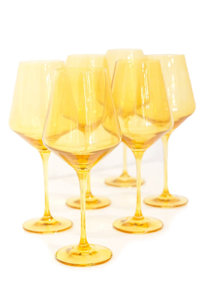 Colored Wine Stemware in Yellow - Set of 6