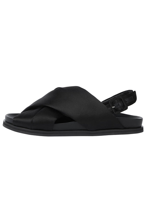 Cross Strap Slide Sandal in Black