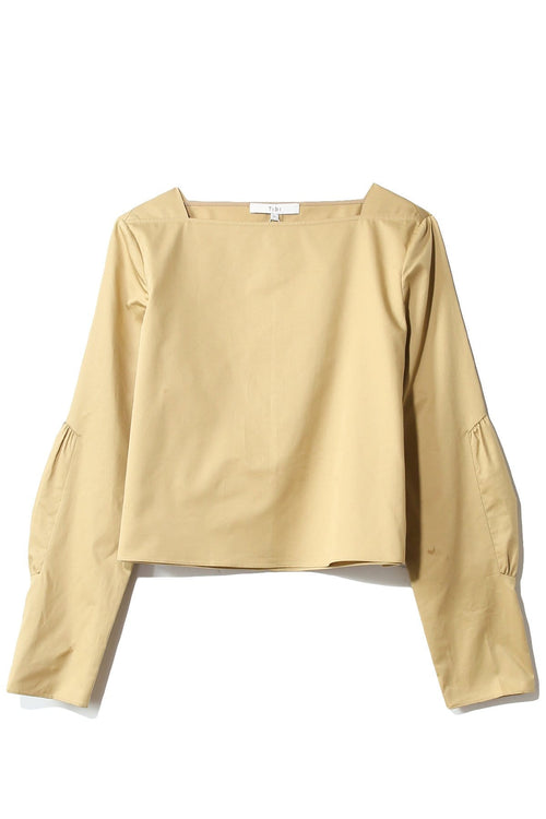 Satin Poplin Boatneck Top in Khaki