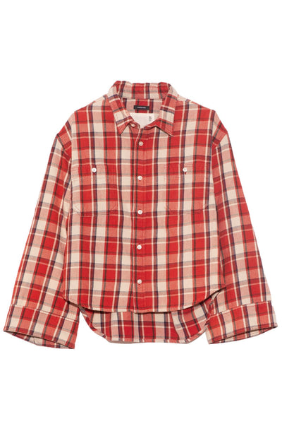 Oversized Sleeve Cropped Shirt in Red Plaid