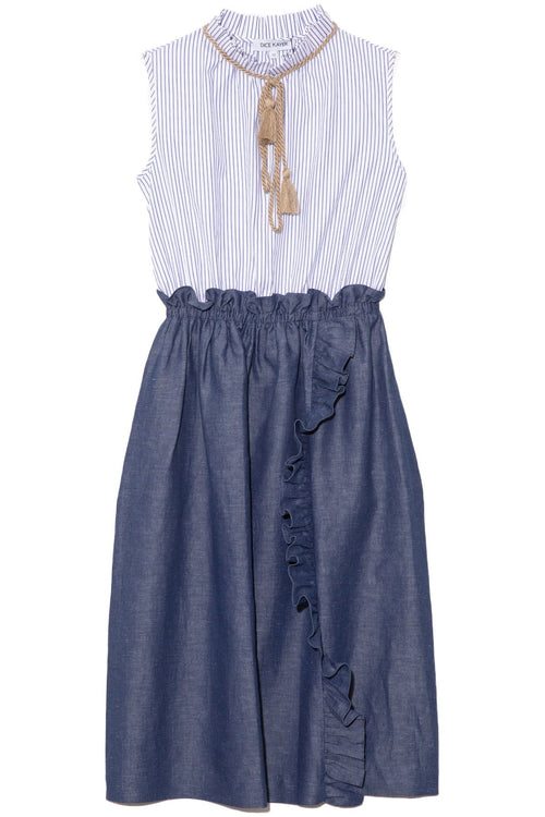 Stripe and Denim Dress in Indigo
