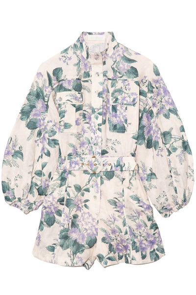 Cassia Panelled Playsuit in Hydrangea Floral