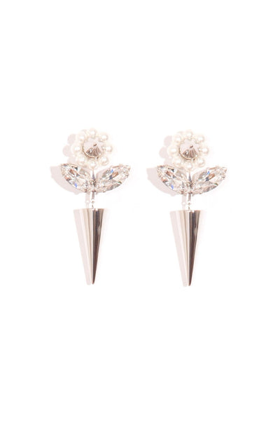 Flower and Spike Earring in Pearl/Clear